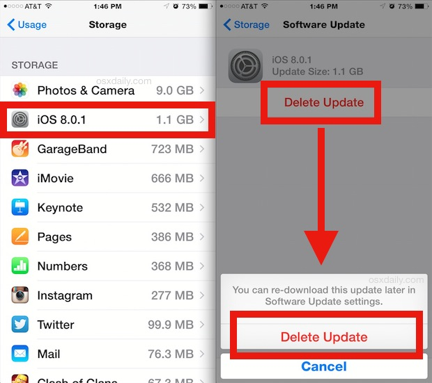 Delete iOS Updates from an iPhone