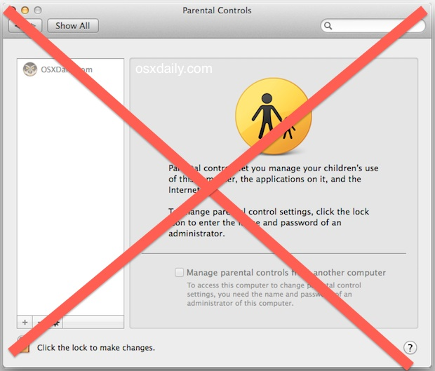 Disable Parental Controls in Mac OS X