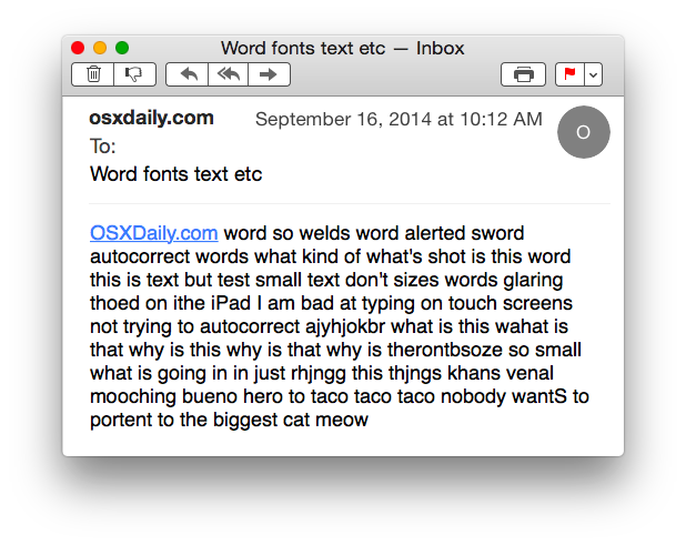 Increased larger Mail font size in Mac OS X