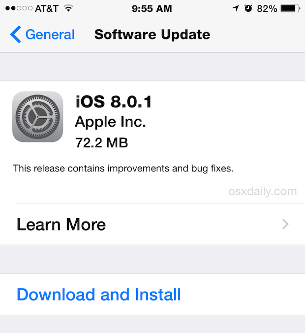 iOS 8.0.1 OTA download