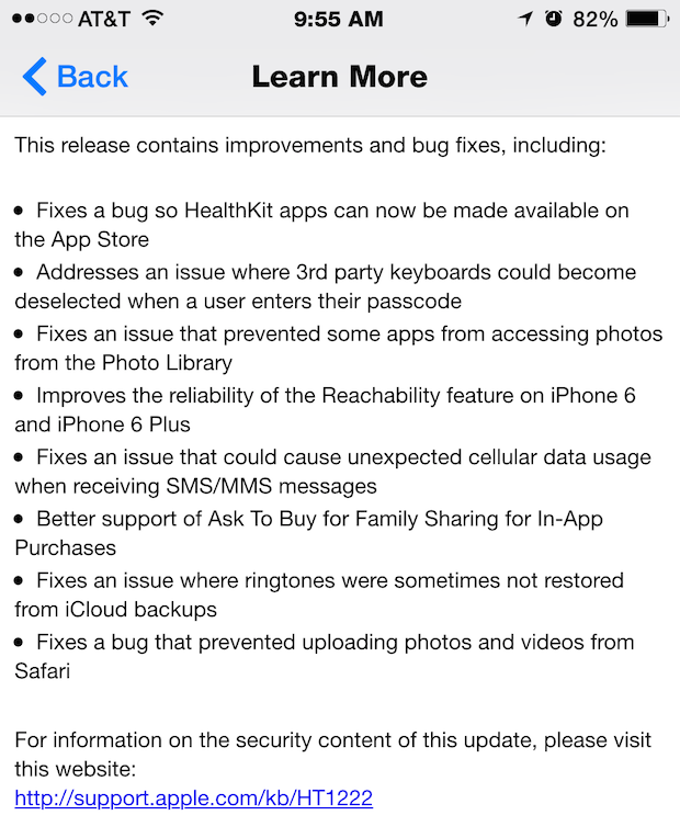 iOS 8.0.1 release notes