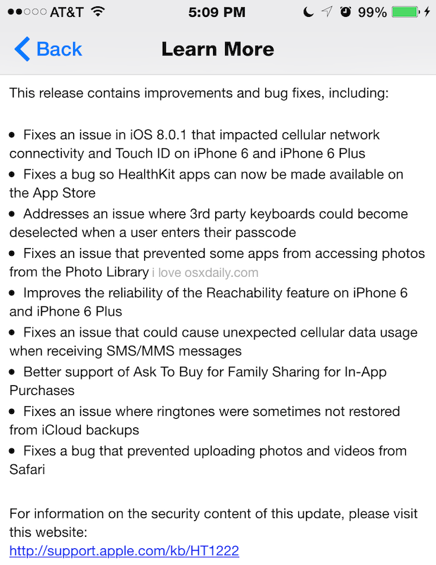 iOS 8.0.2 release notes