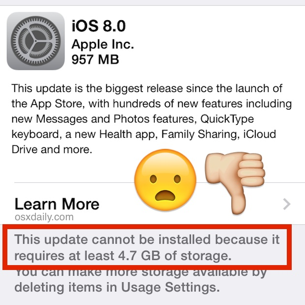 iOS 8 Cannot Be Installed Because Not Enough Free Storage