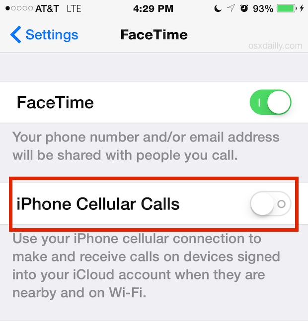iPhone cellular calls setting