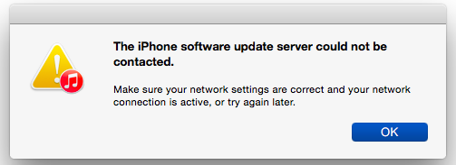 iPhone Software Update Server could not be contacted error message