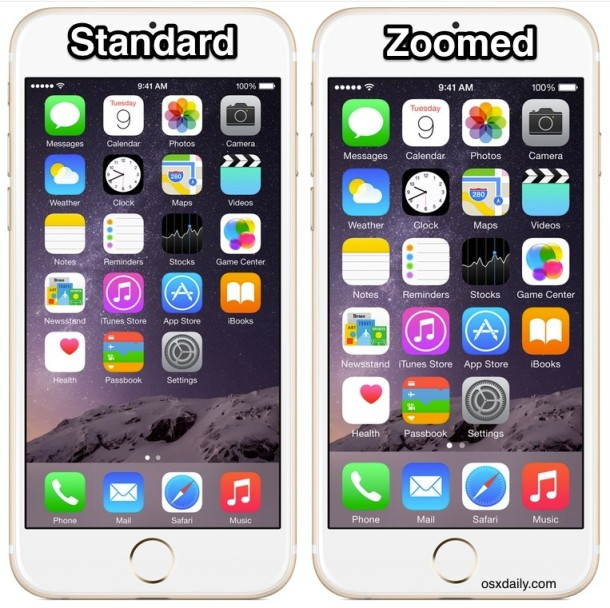 iPhone Standard vs Zoomed display mode