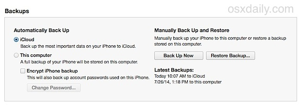 iTunes backups and restore