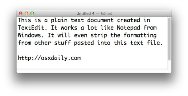 Make TextEdit on a Mac be like Notepad on Windows