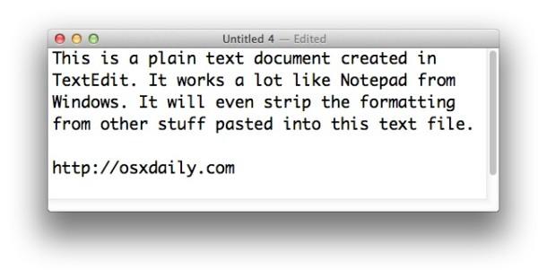 Make TextEdit on a Mac be like Notepad on Windows