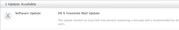 Yosemite Mail update