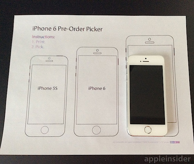 Printable iPhone 6 size helper