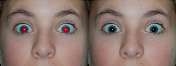Red eye removal on iPhone before and after picture