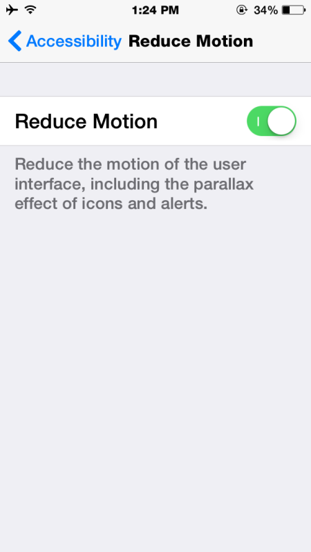 Use Reduce Motion to stop the animation effects in iOS