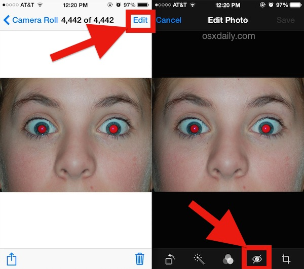 Remove Red Eye from photos with iPhone