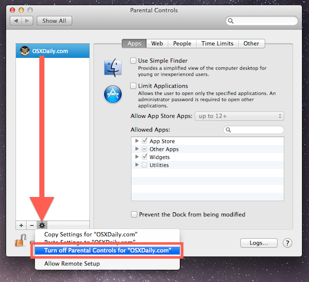 Disable Parental Controls for a user in Mac OS X