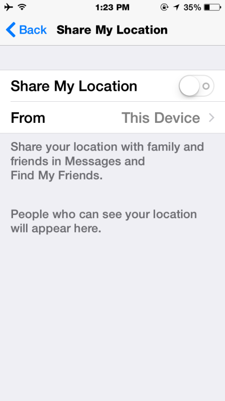 Turn off Share Location