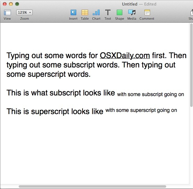 Typing subscript and superscript text in Pages for OS X