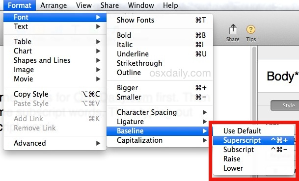 Type superscript or subscript text in Mac OS X Pages app