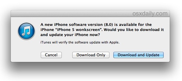 Update to iOS 8 with iTunes
