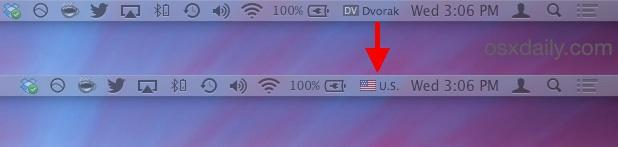 Indicator of changed keyboard language in Mac OS X