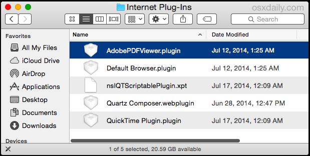 Delete the Adobe Acrobat Reader plugin in Safari