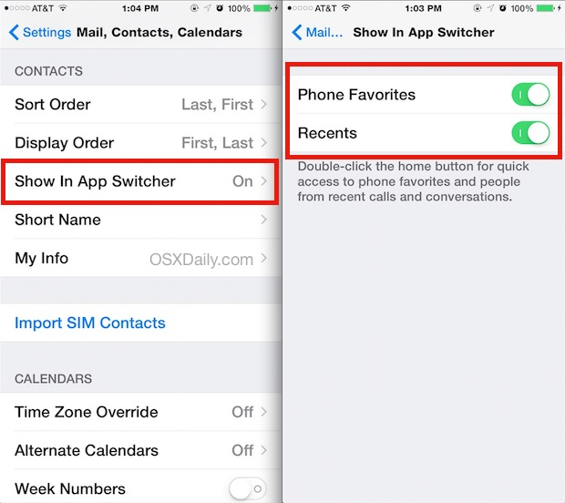 Disable Contacts and Favorites from the App Switcher in iOS