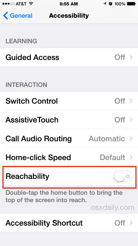 Disable Reachability on iPhone