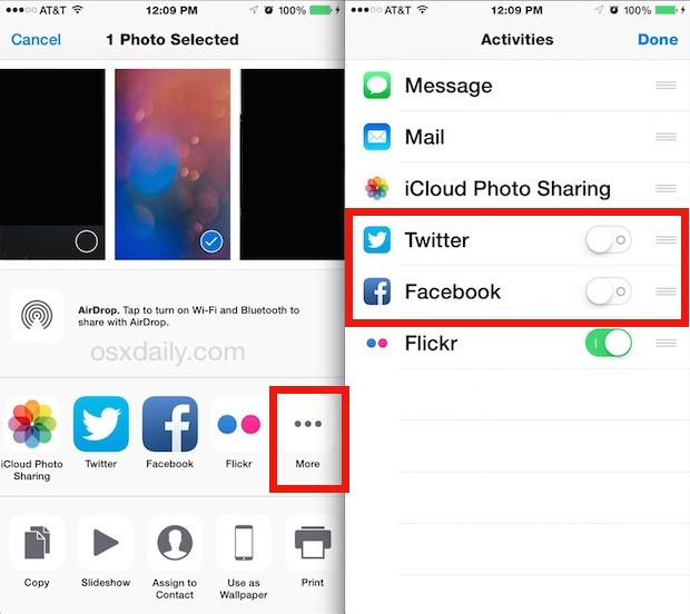 Disable Social Sharing buttons in iOS