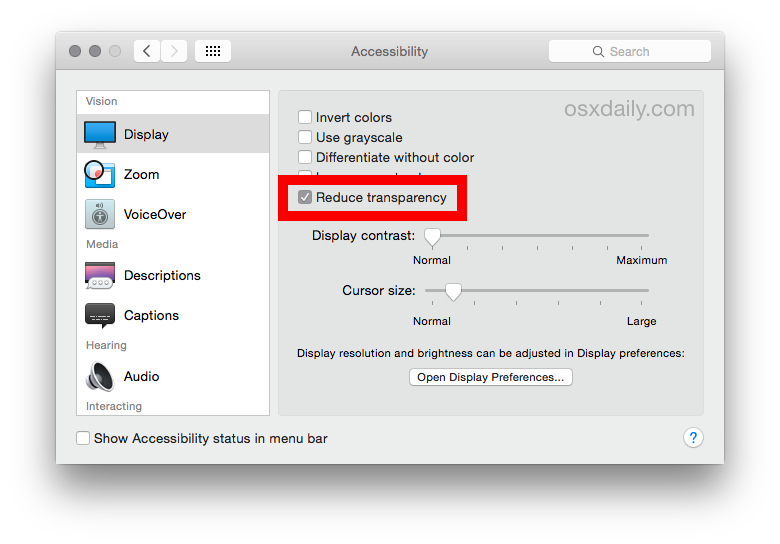 Disable transparency effects in OS X Yosemite