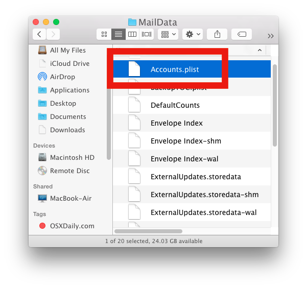 Edit Mail accounts plist file in Mac OS X