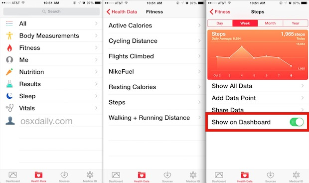 Health app show steps, flights climbed, and walking distance
