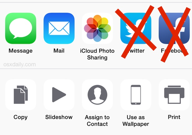 Hide the Twitter and Facebook buttons from sharing menu in iOS