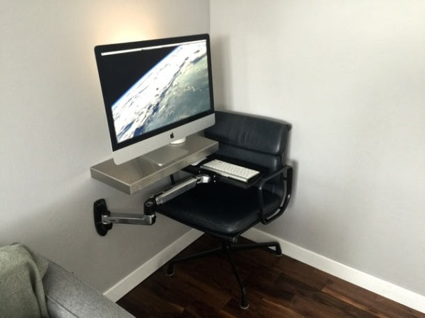 iMac with articulated keyboard shelf