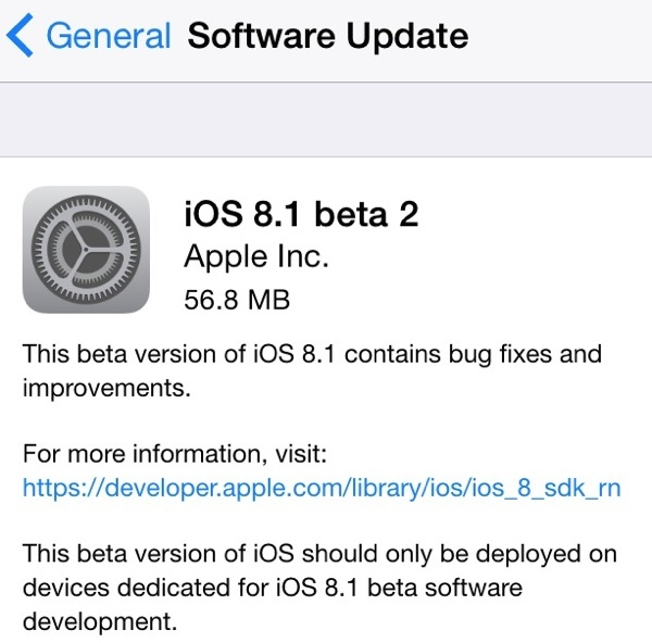 iOS 8.1 beta 2 OTA download