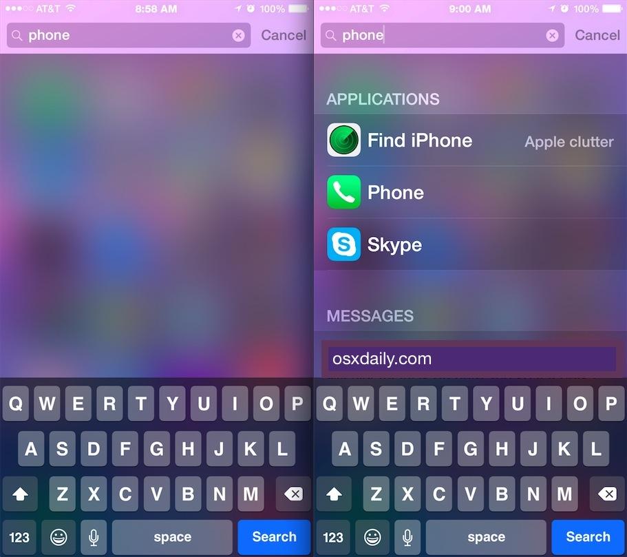 iOS Spotlight not working vs Spotlight working in iOS