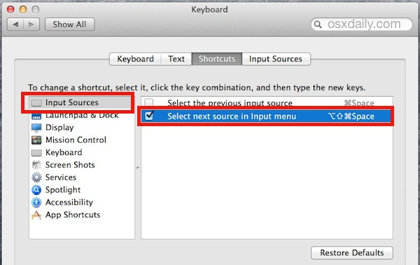 Set the Keystroke to change language keyboard in Mac OS X