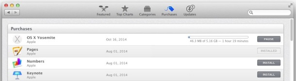 OS X Yosemite downloading in App Store