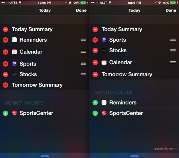 Rearranging Notifications & Widgets in iOS