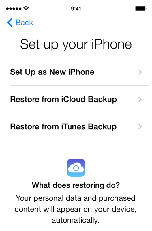 Setting up a new iPhone, or restoring from a backup