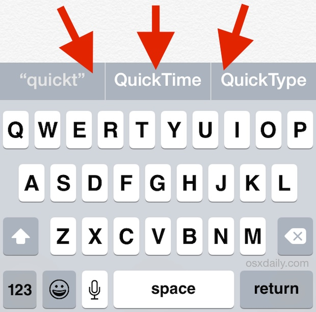 The QuickType suggestion word bar above iOS Keyboard