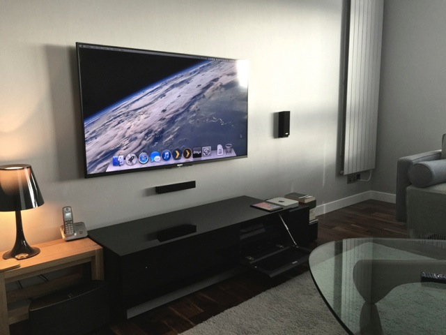 Wall mounted TV with Mac Mini media center