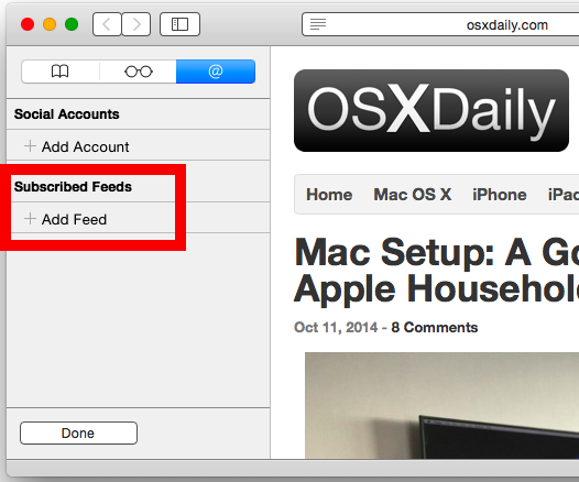 Add RSS feed in safari on the Mac