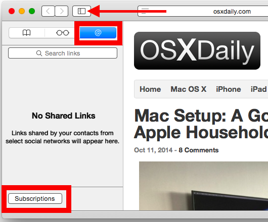 Add an RSS Subscription to Safari
