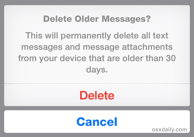 Confirm to delete older messages on the iPhone
