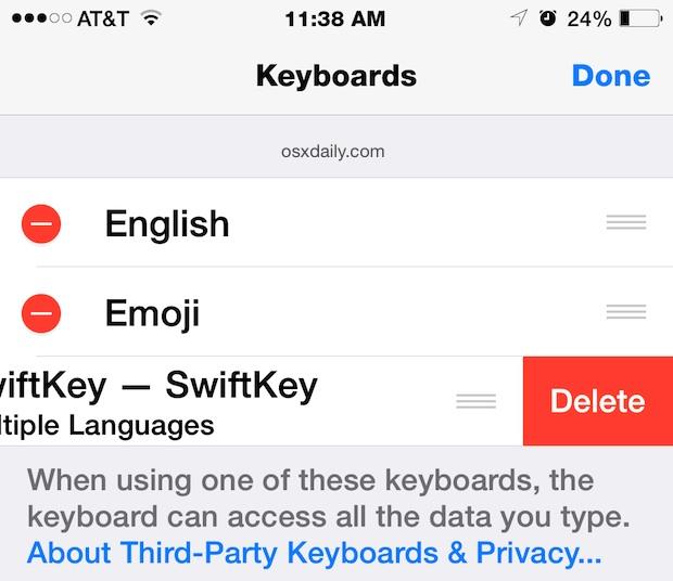 Delete a keyboard in iOS