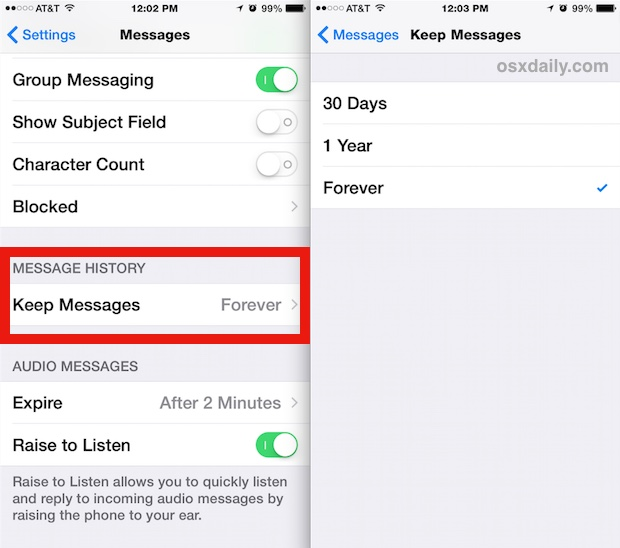 Delete old messages automatically in iOS