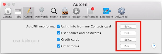 Edit autofill information in Safari for Mac OS X