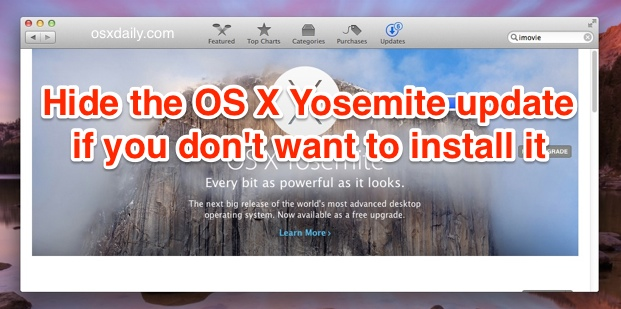 Hide the OS X Yosemite update from the Mac App STore