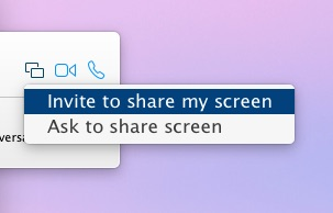 Invite to share screen, ask to share screen