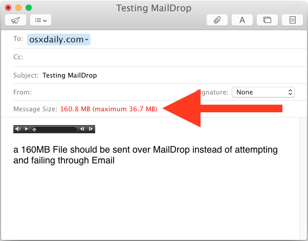 Large file emailing with Mail Drop